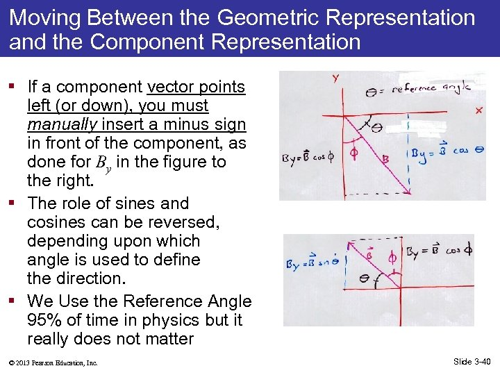 Moving Between the Geometric Representation and the Component Representation § If a component vector