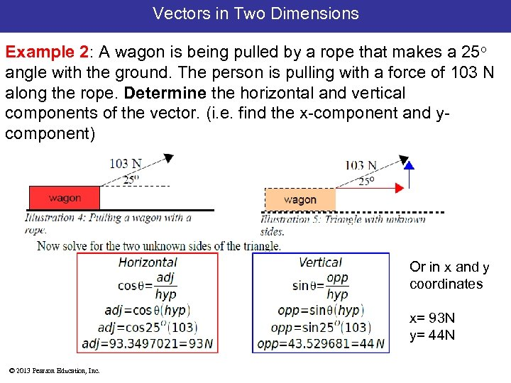 Vectors in Two Dimensions Example 2: A wagon is being pulled by a rope