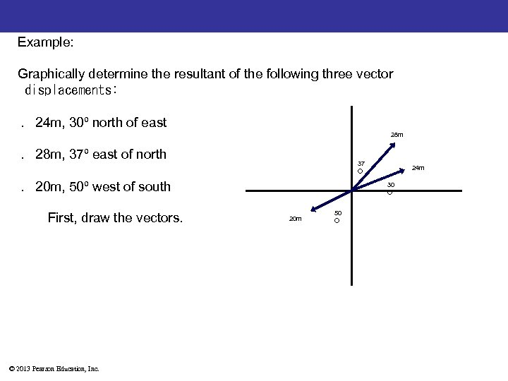 Example: Graphically determine the resultant of the following three vector displacements: . 24 m,