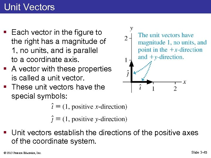 Unit Vectors § Each vector in the figure to the right has a magnitude