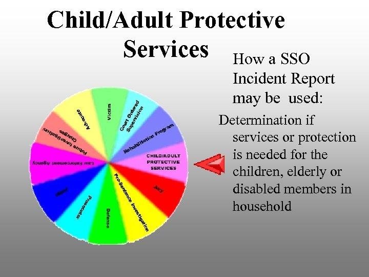 Child/Adult Protective Services How a SSO Incident Report may be used: Determination if services