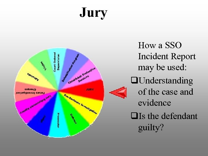 Jury How a SSO Incident Report may be used: q. Understanding of the case