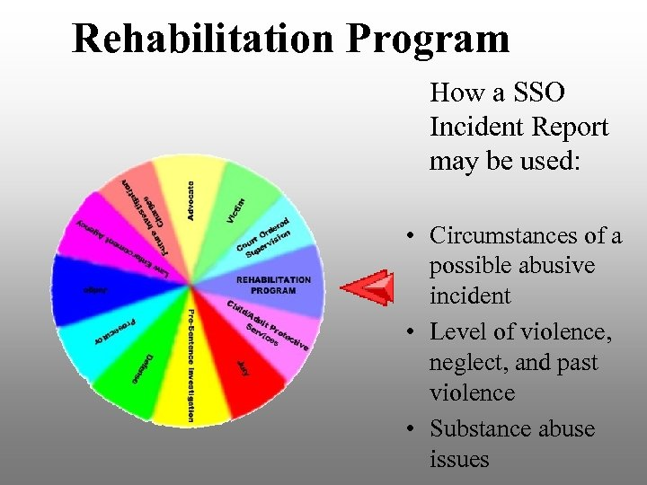 Rehabilitation Program How a SSO Incident Report may be used: • Circumstances of a