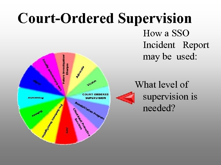 Court-Ordered Supervision How a SSO Incident Report may be used: What level of supervision