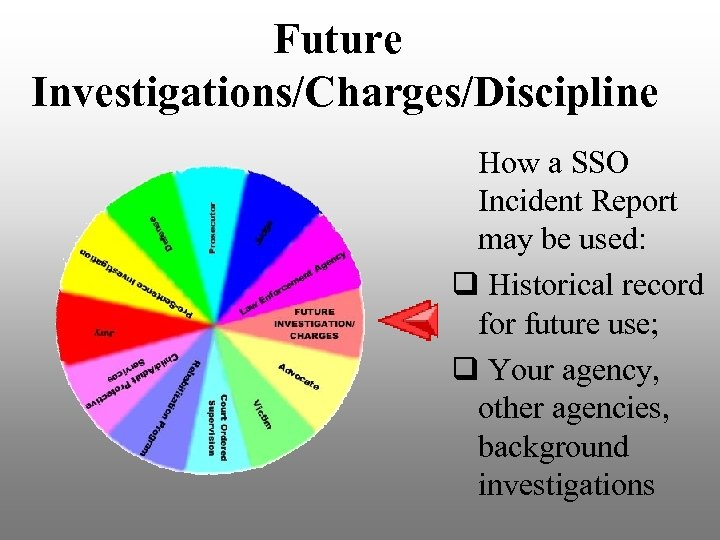 Future Investigations/Charges/Discipline How a SSO Incident Report may be used: q Historical record for