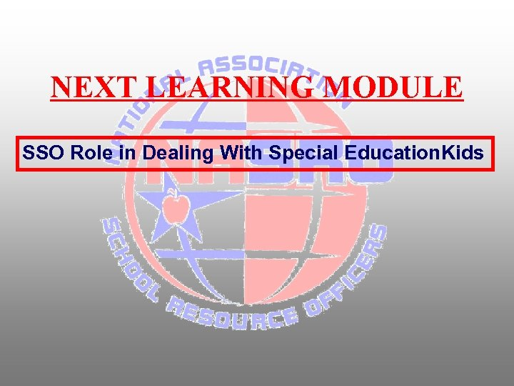 NEXT LEARNING MODULE SSO Role in Dealing With Special Education. Kids