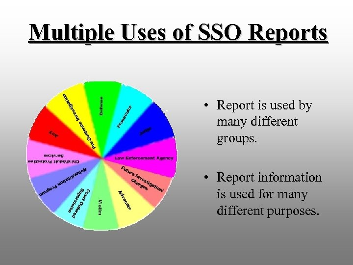 Multiple Uses of SSO Reports • Report is used by many different groups. •