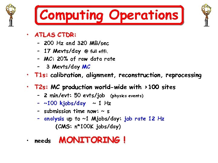 Computing Operations • ATLAS CTDR: – 200 Hz and 320 MB/sec – 17 Mevts/day