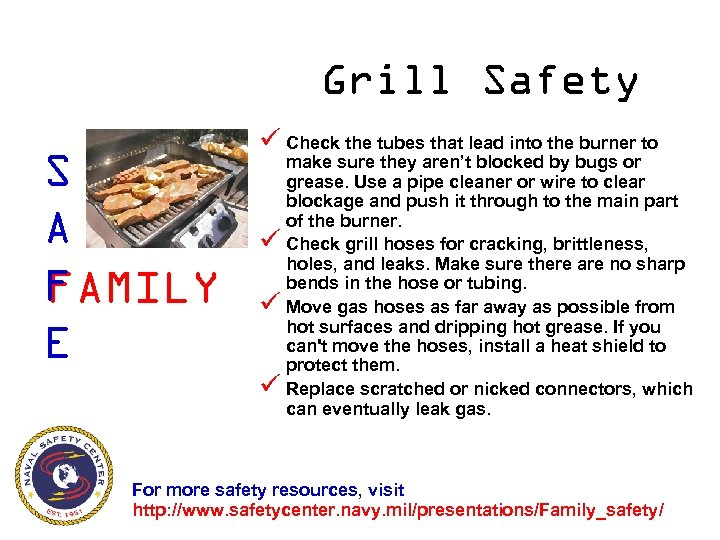 Grill Safety S A F FAMILY E ü Check the tubes that lead into