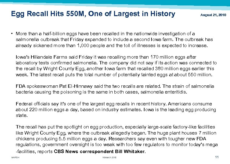 Egg Recall Hits 550 M, One of Largest in History August 21, 2010 •