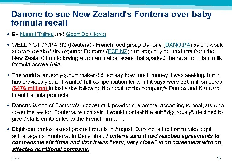 Danone to sue New Zealand's Fonterra over baby formula recall • By Naomi Tajitsu