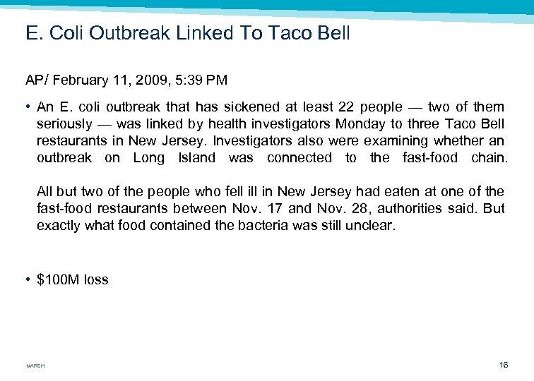 E. Coli Outbreak Linked To Taco Bell AP/ February 11, 2009, 5: 39 PM