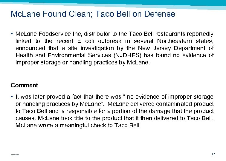 Mc. Lane Found Clean; Taco Bell on Defense • Mc. Lane Foodservice Inc, distributor