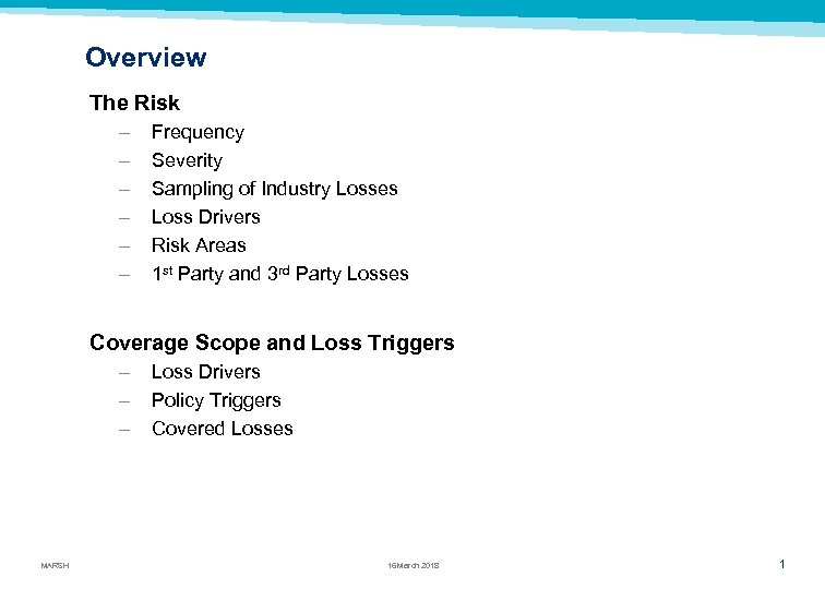 Overview The Risk – – – Frequency Severity Sampling of Industry Losses Loss Drivers