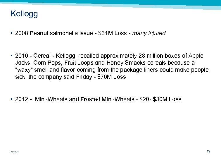 Kellogg • 2008 Peanut salmonella issue $34 M Loss - many injured • 2010