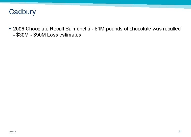 Cadbury • 2006 Chocolate Recall Salmonella $1 M pounds of chocolate was recalled $30