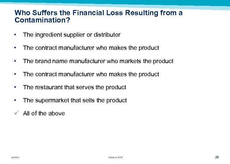 Who Suffers the Financial Loss Resulting from a Contamination? • The ingredient supplier or