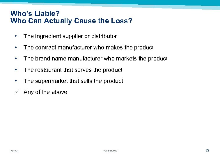 Who's Liable? Who Can Actually Cause the Loss? • The ingredient supplier or distributor