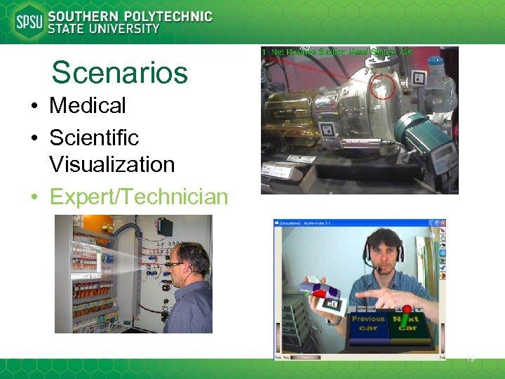 Scenarios • Medical • Scientific Visualization • Expert/Technician 19