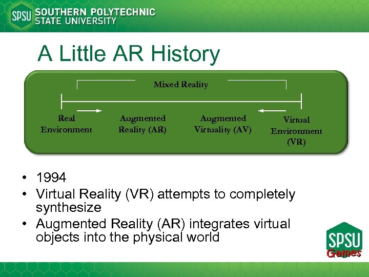 A Little AR History Mixed Reality Real Environment Augmented Reality (AR) Augmented Virtuality (AV)