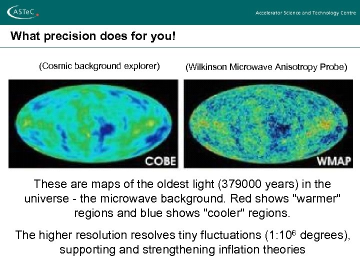 What precision does for you! (Cosmic background explorer) (Wilkinson Microwave Anisotropy Probe) These are