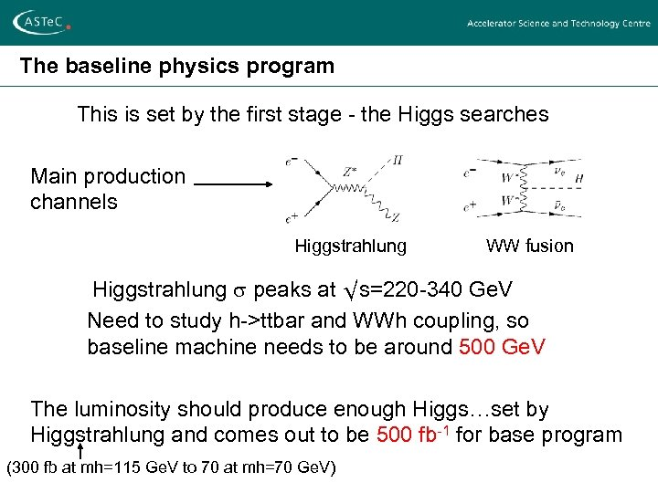 The baseline physics program This is set by the first stage - the Higgs