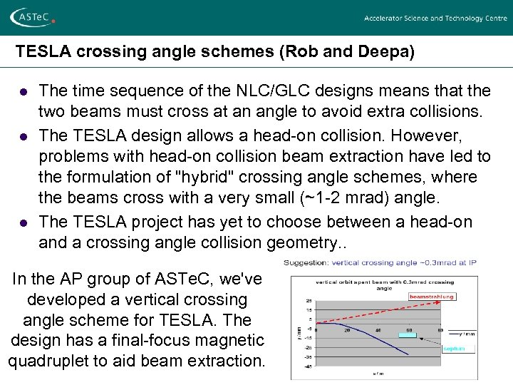 TESLA crossing angle schemes (Rob and Deepa) l l l The time sequence of