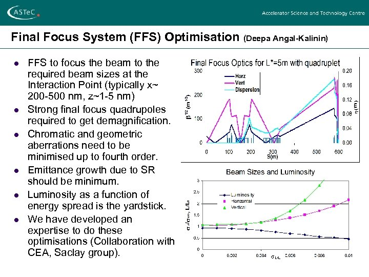 Final Focus System (FFS) Optimisation (Deepa Angal-Kalinin) l l l FFS to focus the