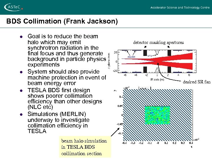 BDS Collimation (Frank Jackson) l l Goal is to reduce the beam halo which