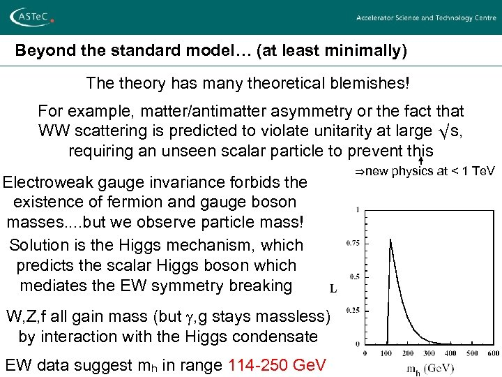 Beyond the standard model… (at least minimally) The theory has many theoretical blemishes! For