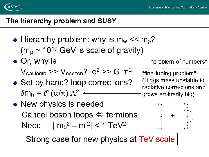 The hierarchy problem and SUSY l l Hierarchy problem: why is mw << mp?