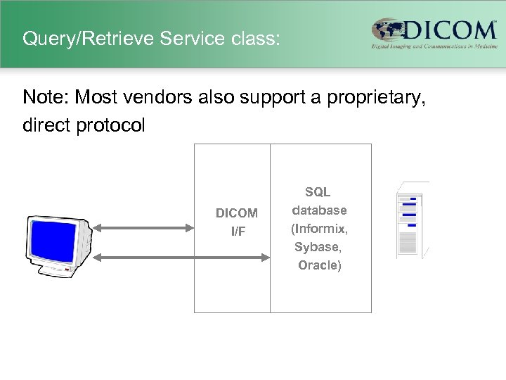 Query/Retrieve Service class: Note: Most vendors also support a proprietary, direct protocol DICOM I/F