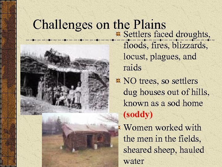 Challenges on the Plains Settlers faced droughts, floods, fires, blizzards, locust, plagues, and raids