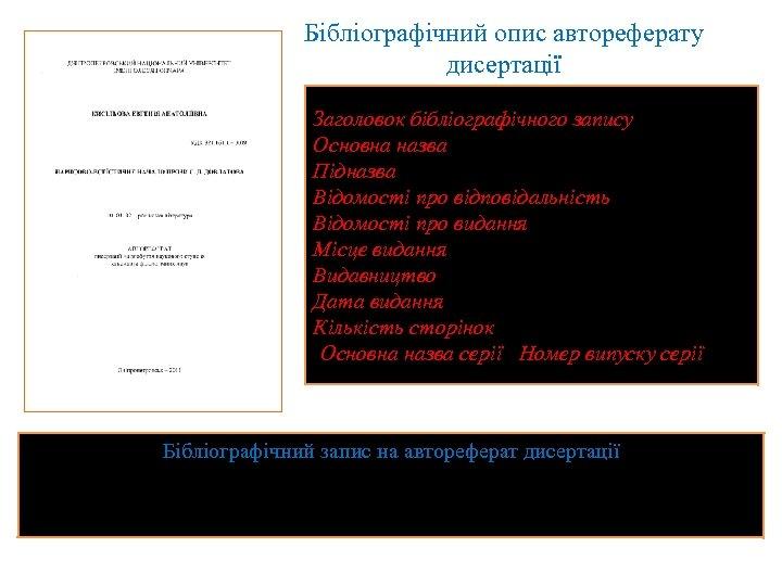 Бібліографічний опис автореферату дисертації Заголовок бібліографічного запису. Основна назва : Підназва / Відомості про