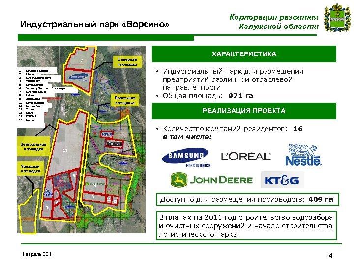 Индустриальный парк «Ворсино» Северная площадка 7 1. 2. 3. 4. 5. 6. 7. 8.