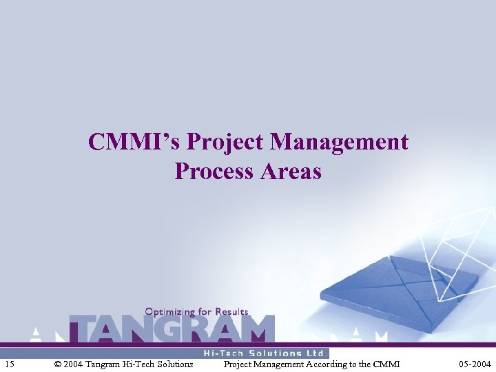 CMMI's Project Management Process Areas 15 © 2004 Tangram Hi-Tech Solutions Project Management According
