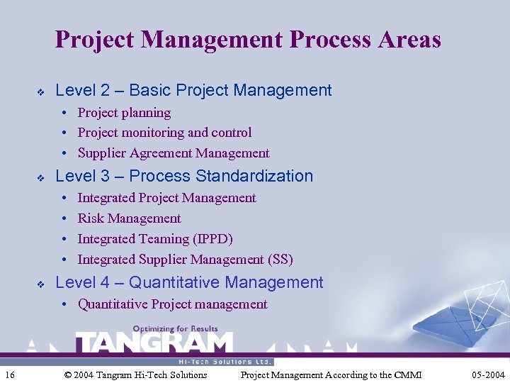 Project Management Process Areas v Level 2 – Basic Project Management • Project planning