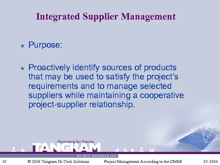 Integrated Supplier Management v v 30 Purpose: Proactively identify sources of products that may
