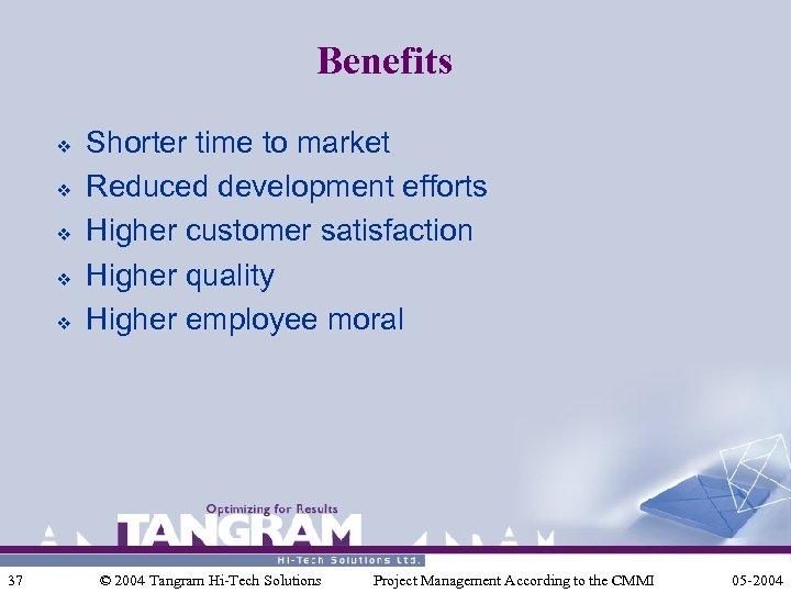 Benefits v v v 37 Shorter time to market Reduced development efforts Higher customer