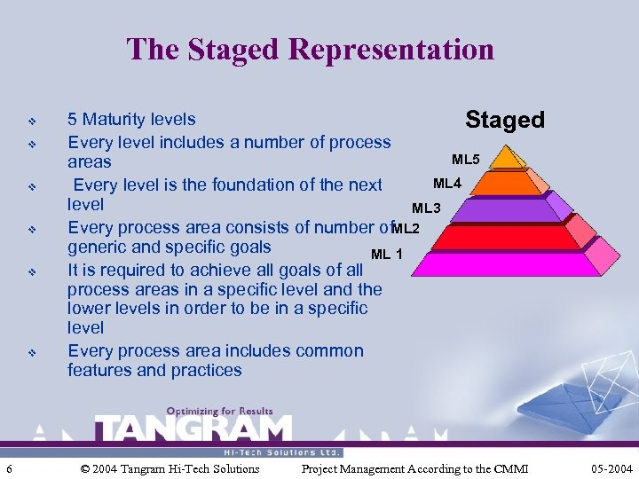 The Staged Representation v v v 6 5 Maturity levels Staged Every level includes