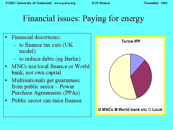 PSIRU University of Greenwich www. psiru. org ESF Firenze November 2002 Financial issues: Paying