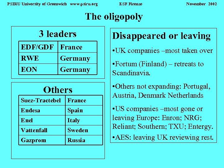 PSIRU University of Greenwich www. psiru. org ESF Firenze November 2002 The oligopoly 3