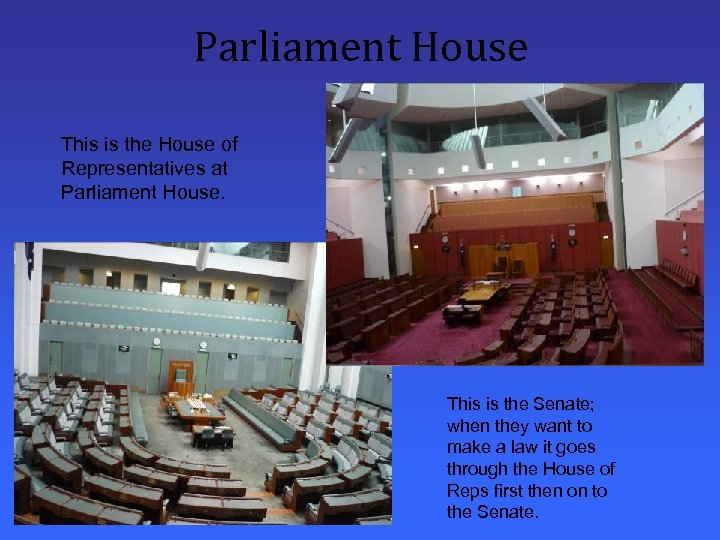 Parliament House This is the House of Representatives at Parliament House. This is the