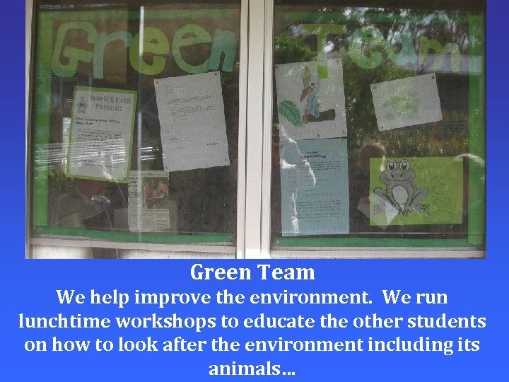 Green Team We help improve the environment. We run lunchtime workshops to educate the