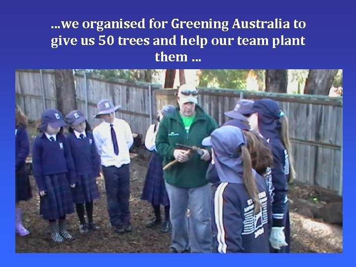 …we organised for Greening Australia to give us 50 trees and help our team