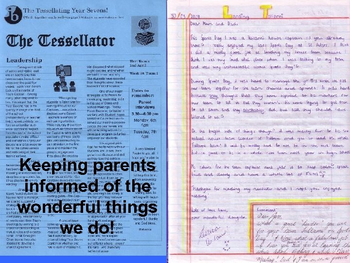 Keeping parents informed of the wonderful things we do!