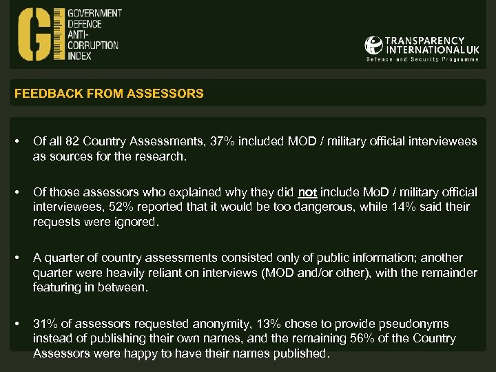 FEEDBACK FROM ASSESSORS • Of all 82 Country Assessments, 37% included MOD / military