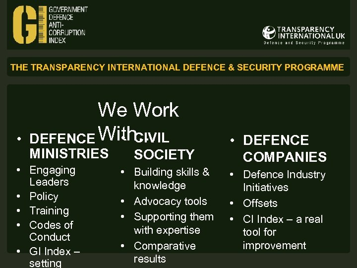 THE TRANSPARENCY INTERNATIONAL DEFENCE & SECURITY PROGRAMME • We Work • CIVIL DEFENCE With…