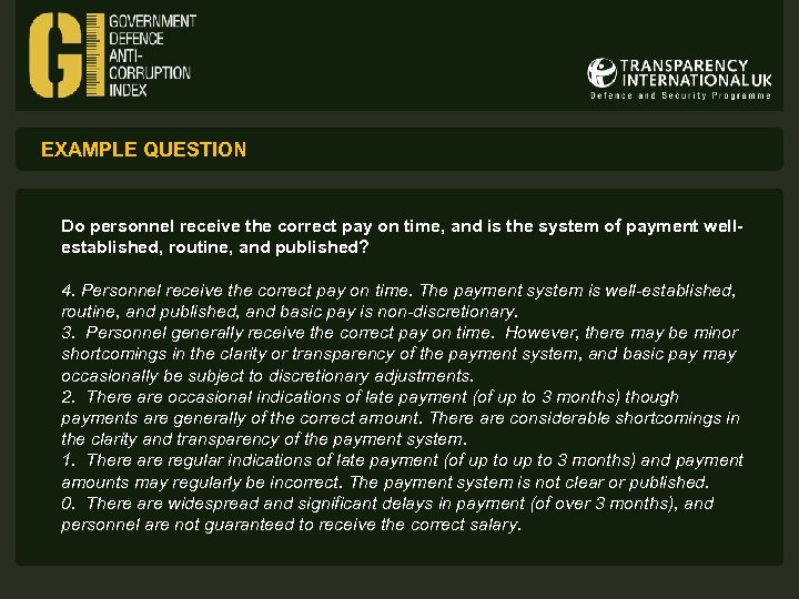 EXAMPLE QUESTION Do personnel receive the correct pay on time, and is the system