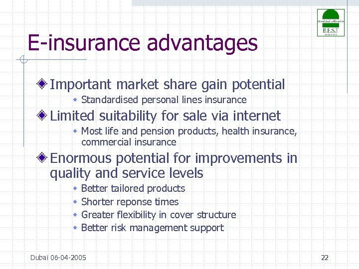 E-insurance advantages Important market share gain potential w Standardised personal lines insurance Limited suitability